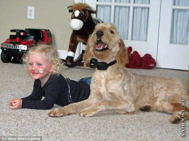Diagnosed with the condition at age eight months, lies on the floor w…